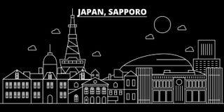 Sapporo-Schattenbildskyline Japan- - Sapporo-Vektorstadt, japanische lineare Architektur, Gebäude Sapporo-Reise stock abbildung