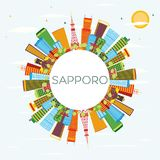 Sapporo Skyline with Color Buildings, Blue Sky and Copy Space. Royalty Free Stock Photos