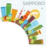 Sapporo Skyline with Color Buildings, Blue Sky and Copy Space. Stock Photo
