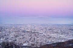 Sapporo-Stadt am Abend Lizenzfreies Stockbild