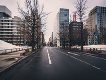 Sapporo street. Sapporo, Japan - March 09, 2015: View down a typical street in central Sapporo Stock Images