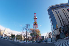 Sapporo TV Tower. Fisheye view of Sapporo TV Tower.The tower is located at Odori Park, in Sapporo, Hokkaido, Japan Stock Images