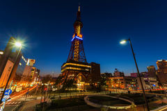 Sapporo TV Tower at dusk Royalty Free Stock Photo