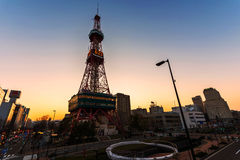 Sapporo TV Tower. SAPPORO, JAPAN - APRIL 24, 2016: Sapporo TV Tower with twilight sky near Odori Park. The 147.2 meter high tower has an observation deck open to Royalty Free Stock Photos