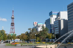 Sapporo TV Tower and Office Buildings Royalty Free Stock Photo