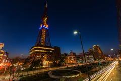 Sapporo TVtorn på skymning royaltyfri foto