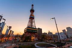 Sapporo TVtorn på solnedgången Royaltyfria Foton