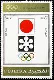 Sapporo 1924, Winter Olympics 1924-1972, Advertising posters serie, circa 1972. MOSCOW, RUSSIA - MARCH 23, 2019: Postage stamp printed in United Arab Emirates stock image