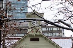 SapporoKlokketoren, Historisch oriëntatiepunt royalty-vrije stock afbeeldingen