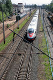 The SAPSAN train is going. The high velocity train SAPSAN is going from Moscow to Saint-Peterburg Stock Photos