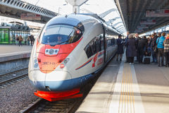 Sapsan train at the Moscow railway station Stock Photography