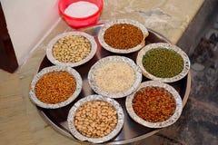 Sapta Dhanyaa, Seven Grains used for Navratri Ghatasthapana Puja. Sapta Dhanyaa or Seven Grains used for Navratri Ghatasthapana Puja Royalty Free Stock Images