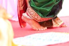Saptapadi of Indian Bride. Saptapadi or saat phere of Indian Bride. This is a Hindu ritual at time of marriage Royalty Free Stock Photography