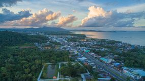 Sapum temple locate in Koh Keaw Phuket. Aerial nice view on the status looking towards the sea. Sapam temple is on the hill close to the sea on the pavillion can Stock Image