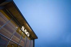 SAQ logo on their main shop for Montreal center. Also known as Societe des Alcools du Quebec, it sells spirits, alcool, wine stock photo
