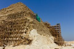 Saqqara pyramid scaffolding Stock Photos