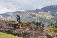 Saqsaywaman印加人站点在秘鲁 免版税库存照片