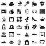 Saque a colación a niños los iconos fijados, estilo simple stock de ilustración