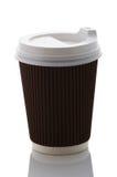 Saque la taza de café en un fondo blanco Fotografía de archivo