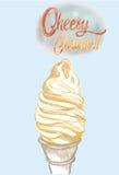 Saque macio de creme de Cheest no cone do waffle, ilustração tirada mão ilustração do vetor