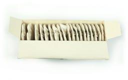Saquinhos de chá brancos na caixa Imagem de Stock Royalty Free