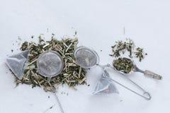 Saquinhos de chá e bolas Imagem de Stock Royalty Free