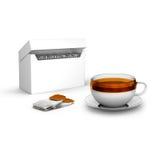 Saquinhos de chá pretos com o copo com e a caixa do chá ilustração stock