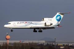Sar Avia - Saratov Airlines. PRAGUE, CZECH REPUBLIC - DECEMBER 15: Yakovlev Yak-42D Sar Avia - Saratov Airlines lands at PRG Airport on December 15, 2012 Stock Image