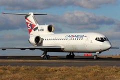 Sar Avia - Saratov. PRAGUE, CZECH REPUBLIC - JANUARY 12: Sar Avia - Saratov Airlines Yakovlev Yak-42D taxis to teminal at PRG Airport on January 12, 2014 Stock Photography