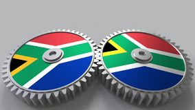 SAR national project. Flags of South Africa on moving cogwheels. Conceptual 3D rendering. SAR national project. Flags of South Africa on moving cogwheels stock illustration