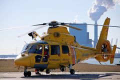 SAR rescue helicopter of the Dutch coast guard is ready for take Stock Images