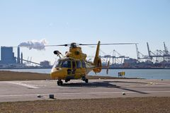 SAR rescue helicopter of the Dutch coast guard is ready for take Stock Image