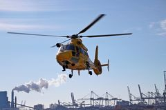 SAR rescue helicopter of the Dutch coast guard is taking off the Stock Photo