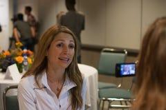Sara Hall den amerikanska maratonlöparen deltar i en presskonferens Arkivfoto