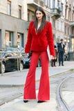Sara nicole rossetto Streetstyle milano,milan fashion week autumn winter 2015 2016 Stock Image