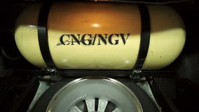 SARABURI, THAILAND - APRIL 10 2015 : Stabilized shot dolly in to CNG, NGV tank inside the car stock video
