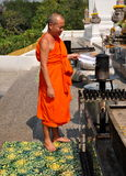 Saraburi, Thailand: Monk at Outdoor Altar stock images