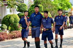 Saraburi, Thailand: Thai Schoolboys at Temple Royalty Free Stock Images