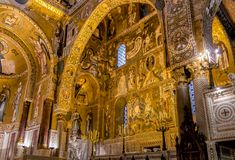 Saracen arches and Byzantine mosaics within Palatine Chapel of the Royal Palace in Palermo. Sicily, Italy Royalty Free Stock Images