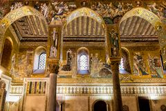 Saracen arches and Byzantine mosaics within Palatine Chapel of the Royal Palace. Stock Photos