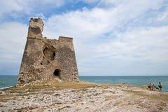 Saracen tower, coast of Gargano, Vieste Stock Images