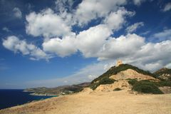 Saracen tower outpost. Of the sea in Sardinia, Italy Royalty Free Stock Photos