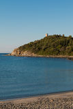 Saracen Tower on Promontory in Italy in Sardina Coast:  Tower on Stock Photography