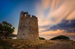 Saracen Tower. Torre di Cala on Sardegna near Cagliari at sunset, Italy stock photos
