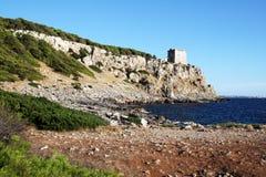 Saracenic torre inserraglio. The saracenic tower torre inserraglio at porto selvaggio bay in italy Stock Photo