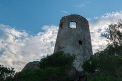 Saracen Tower in Italy in Sardina Coast Stock Images