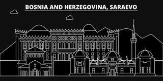 Saraevo konturhorisont Bosnien och Hercegovina - Saraevo vektorstad, bosnisk linjär arkitektur, byggnader vektor illustrationer