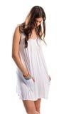 Sarafan женщины вкратце белое Стоковые Фотографии RF