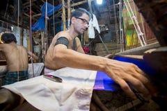 Sarafat Khan Sadhin 46 år en Benarashi Palli arbetare Royaltyfri Foto