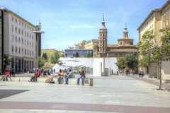saragossa Περιοχή Plaza del Πιλάρ Στοκ φωτογραφία με δικαίωμα ελεύθερης χρήσης